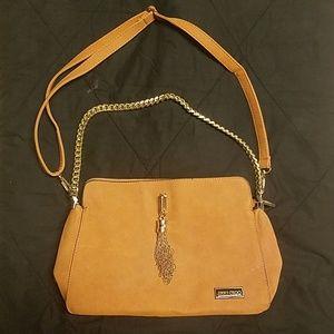 Tan suede shoulder bag